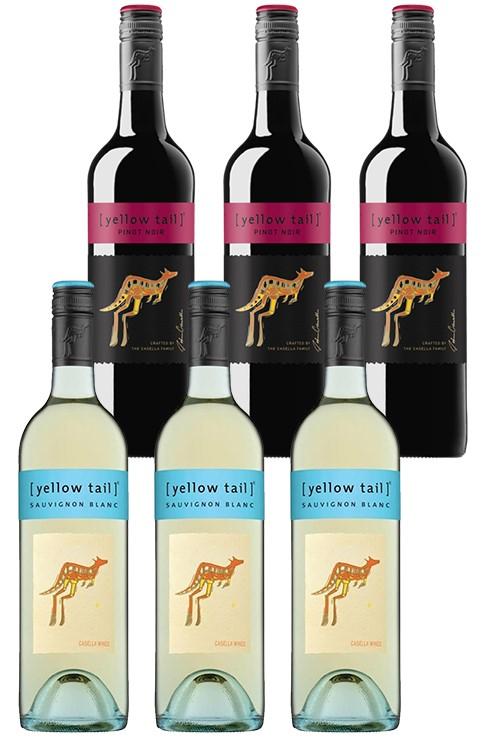 Yellowtail Sauvignon Blanc & Pinot Noir Mixed Pack (6 x 750mL), SE AUS.