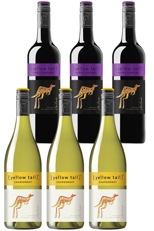 Yellowtail Chardonnay & Shiraz Cabernet Mixed Pack (6 x 750mL),SE AUS.