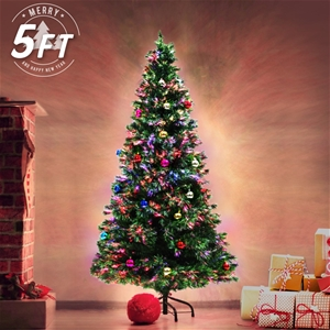 Fibre Optic Christmas Tree With Baubles.5ft 150cm Fibre Optic Led Christmas Tree Baubles Multi Colour
