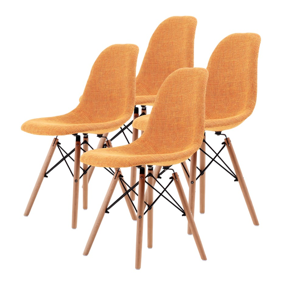 Replica Eames DSW Dining Chair - LIGHT ORANGE X4
