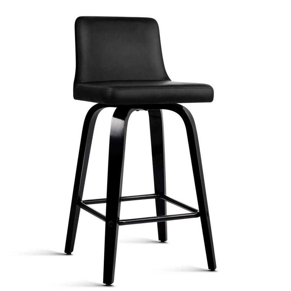 Artiss Set of 2 Walnut Wooden Bar Stool - Black and Walnut