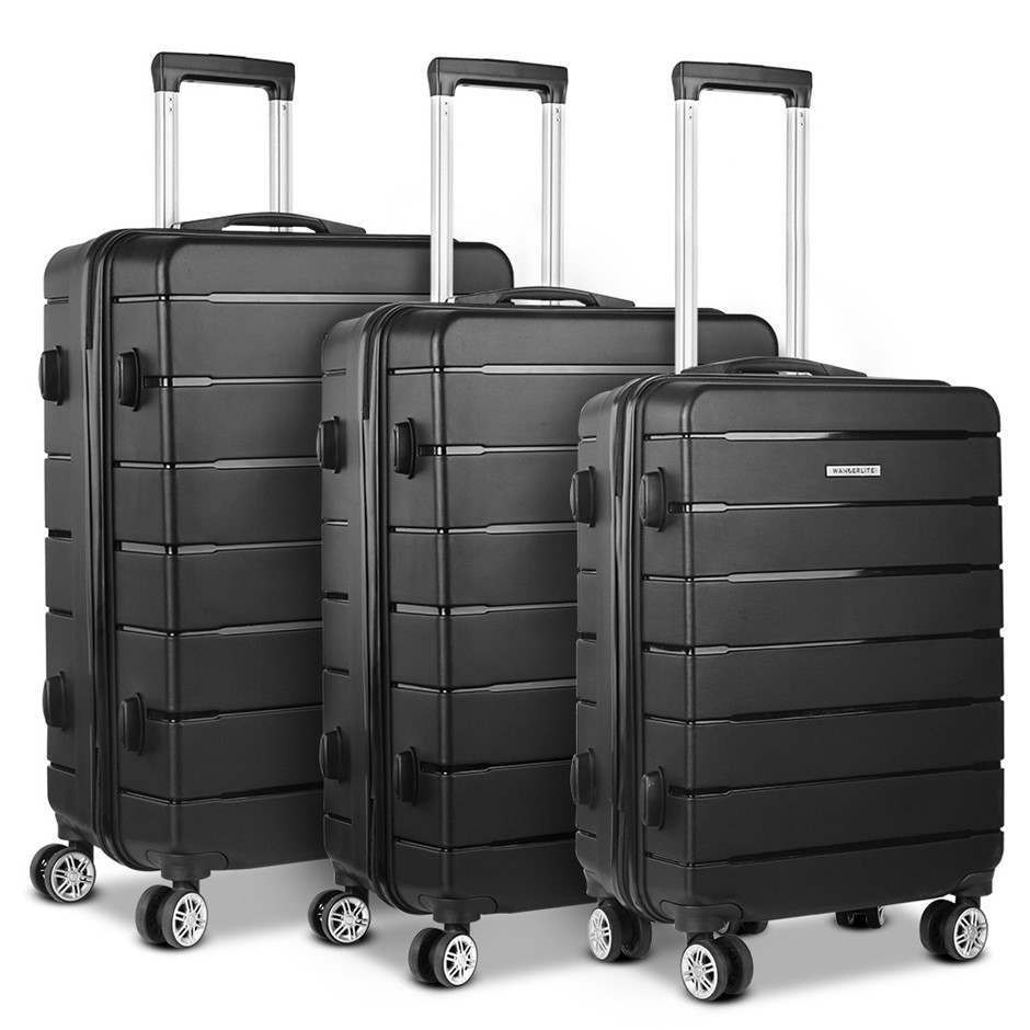 Wanderlite 3PC Luggage Suitcase Trolley - Black