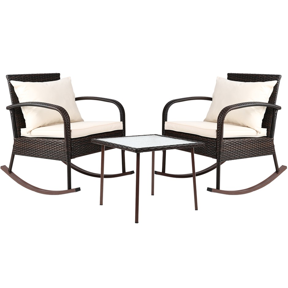 Gardeon 3 Piece Outdoor Rocking Set - Brown