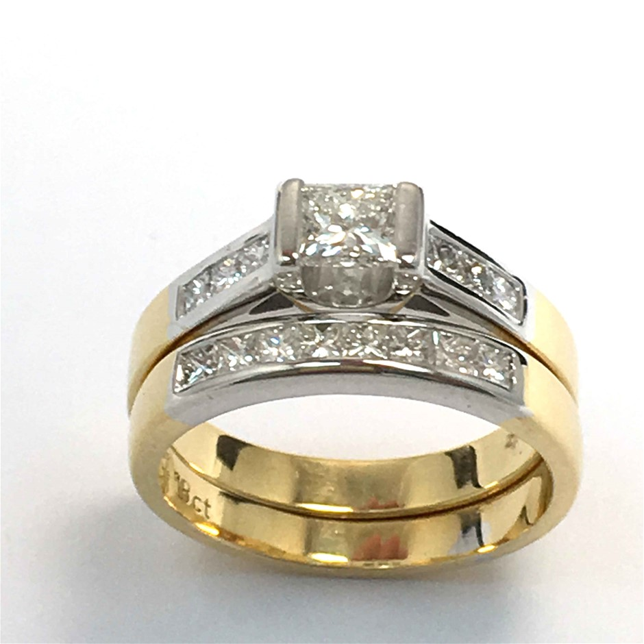 18ct Yellow Gold & White Gold, 1.12ct Diamond Engagement Ring Set