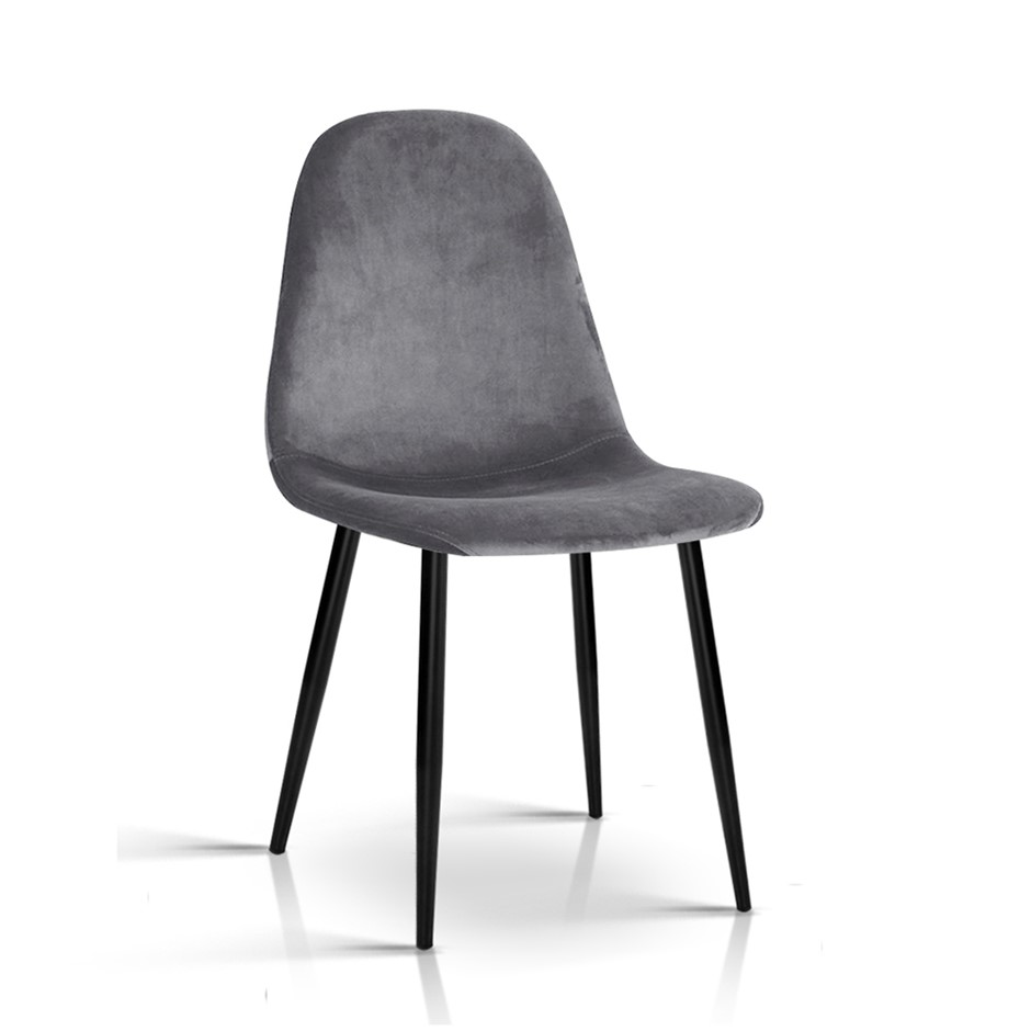 Artiss Velvet Modern Dining Chair - Grey