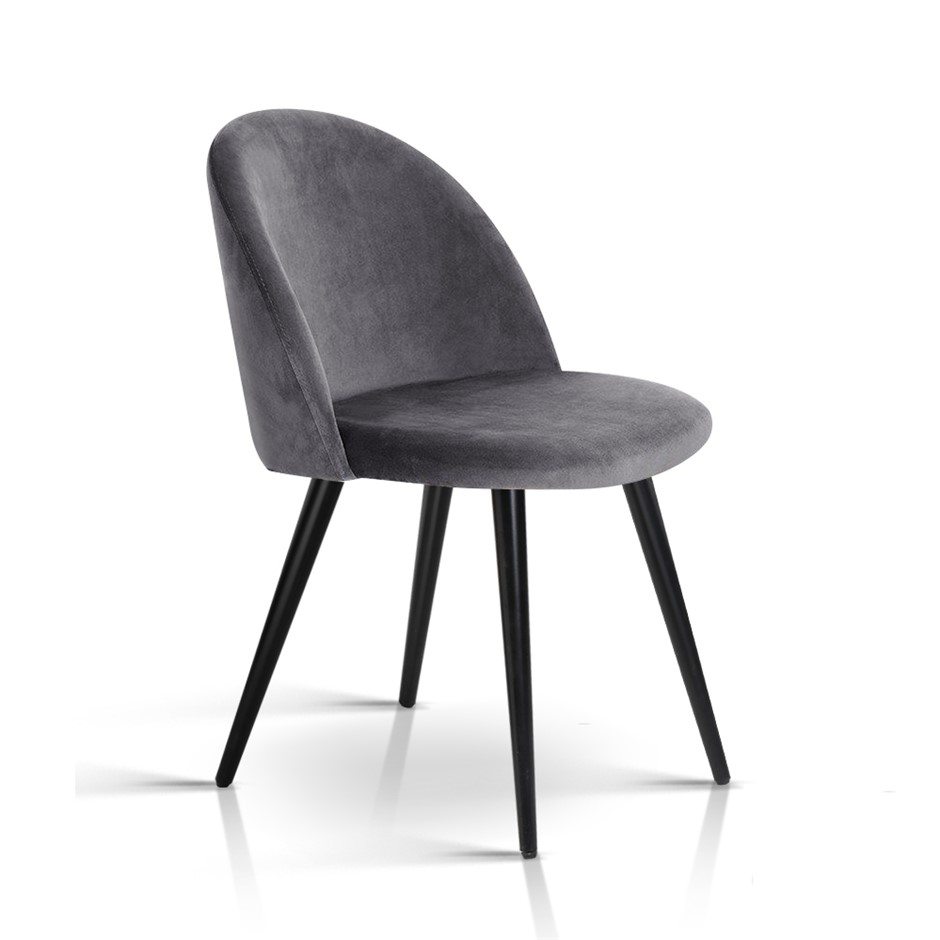 2 x Artiss Velvet Modern Dining Chair - Black