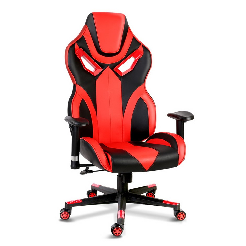 PU Leather Gaming Style Desk Chair - Black and Red