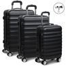 Wanderlite 3 Piece Lightweight Hard Suit Case - Black