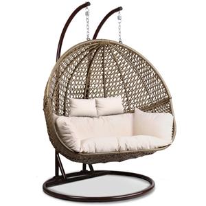 Buy Gardeon Outdoor Double Hanging Swing Chair Brown