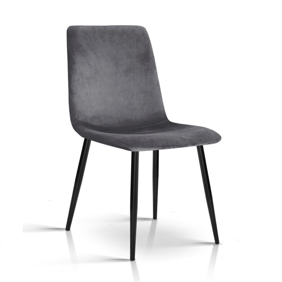 Artiss Set of Four Velvet Modern Dining Chair - Grey