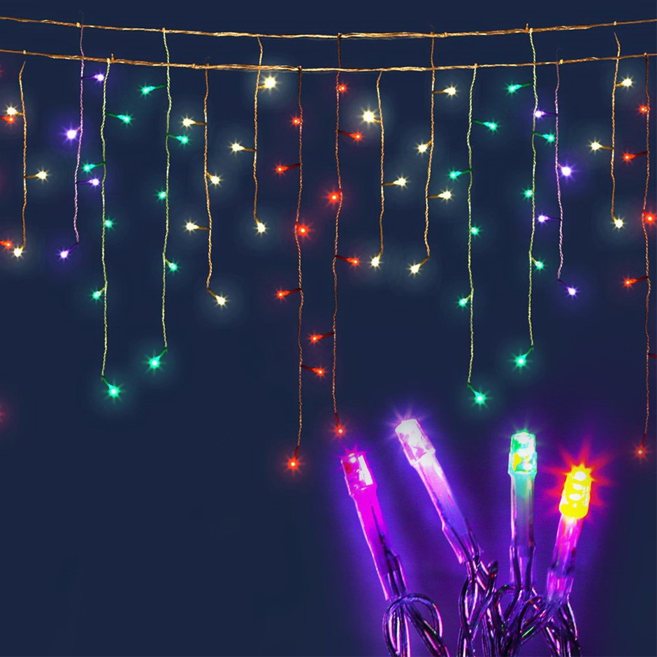 Jingle Jollys 500 Solar Powered Icicle Lights - Multi Colour