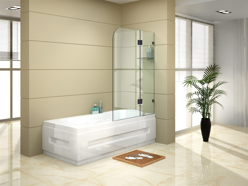 1200 x 1450mm Frameless Bath Panel 10mm Glass Shower Screen