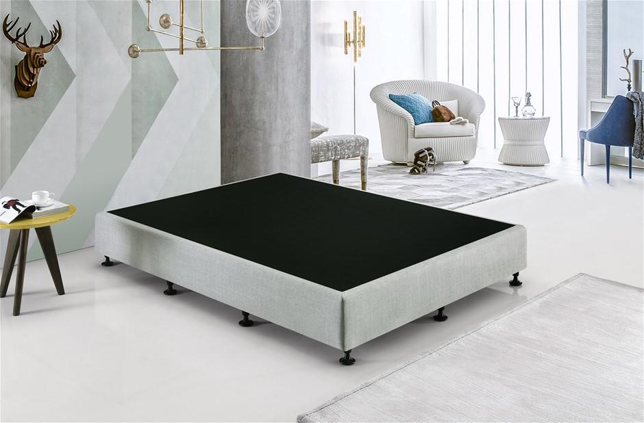 Palermo King Single Ensemble Bed Base Platinum Light Grey Linen Fabric