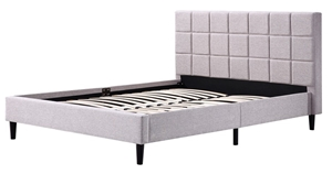 Queen Linen Fabric Deluxe Bed Frame Beig