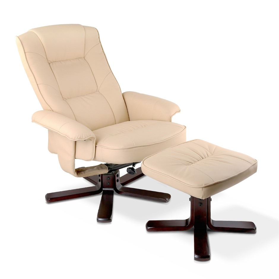PU Leather Wood Armchair Recliner - Beige
