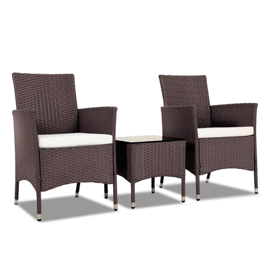 Gardeon 3 Piece Rattan Outdoor Furniture Set - Brown
