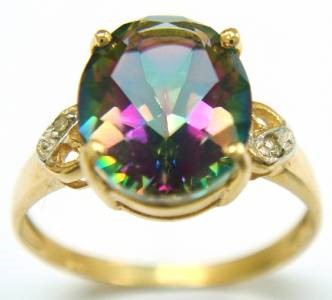Genuine Diamond & Mystic Topaz 9K Yellow Gold Ring