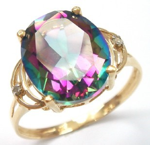 Genuine Diamond & Mystic Topaz 9K Yellow Gold Ring.