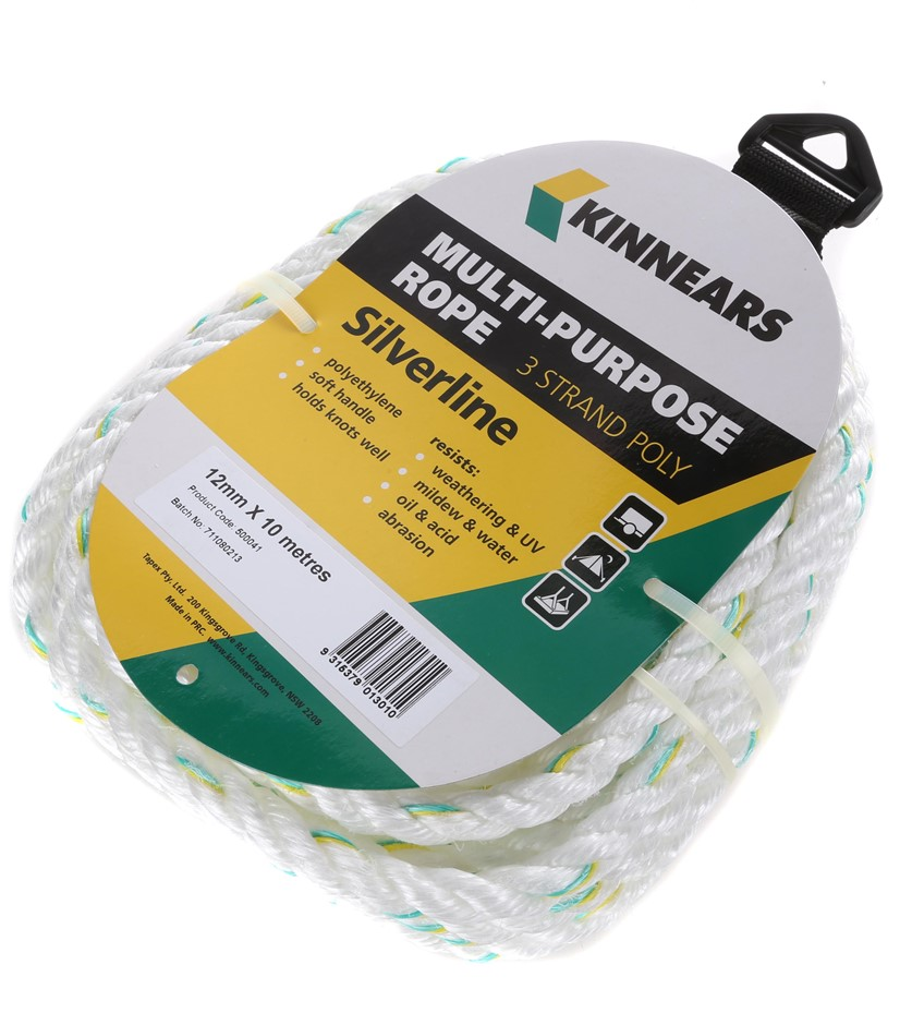 8 Hanks of KINNEARS Silverline 12mm x 10M Polyethylene Rope, 3-Strand with