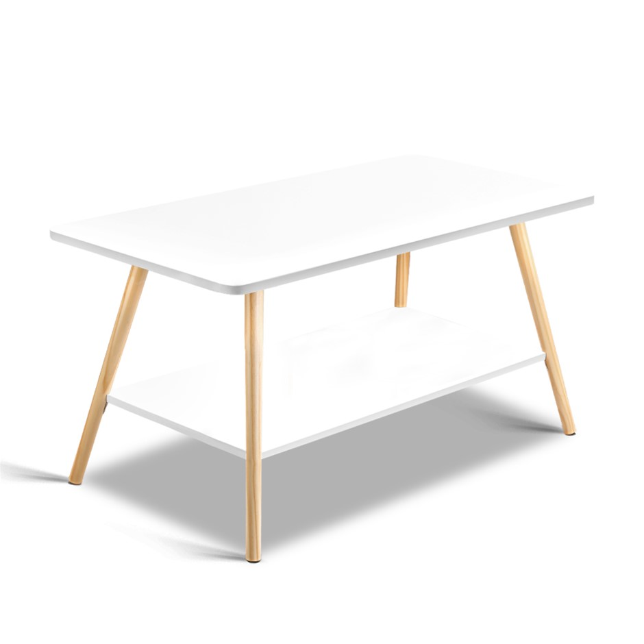 Artiss 2 Tier Coffee Table White