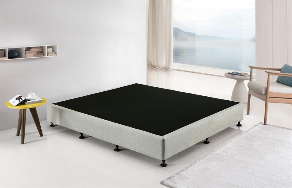 Palermo King Ensemble Bed Base Platinum Light Grey Linen Fabric