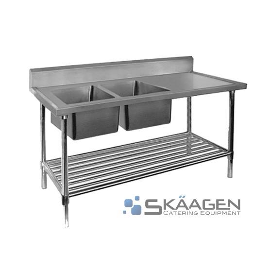 Unused Double Left 1900 x 600 Stainless Steel Sink FSA-2-1900L