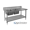 Unused Double Left 2400 x 600 Stainless Steel Sink FSA-2-2400L
