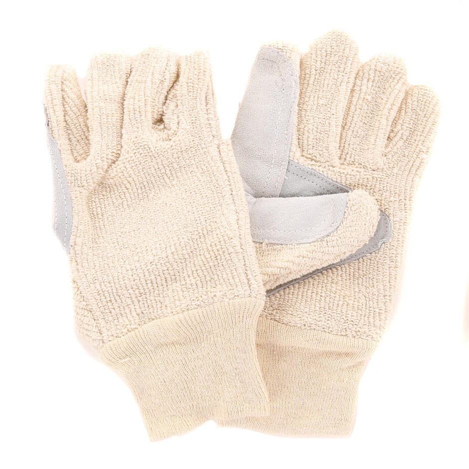 12 Pairs x Terrycord Work Gloves, Size M/L, 100% 28oz Cotton with Chrome Le