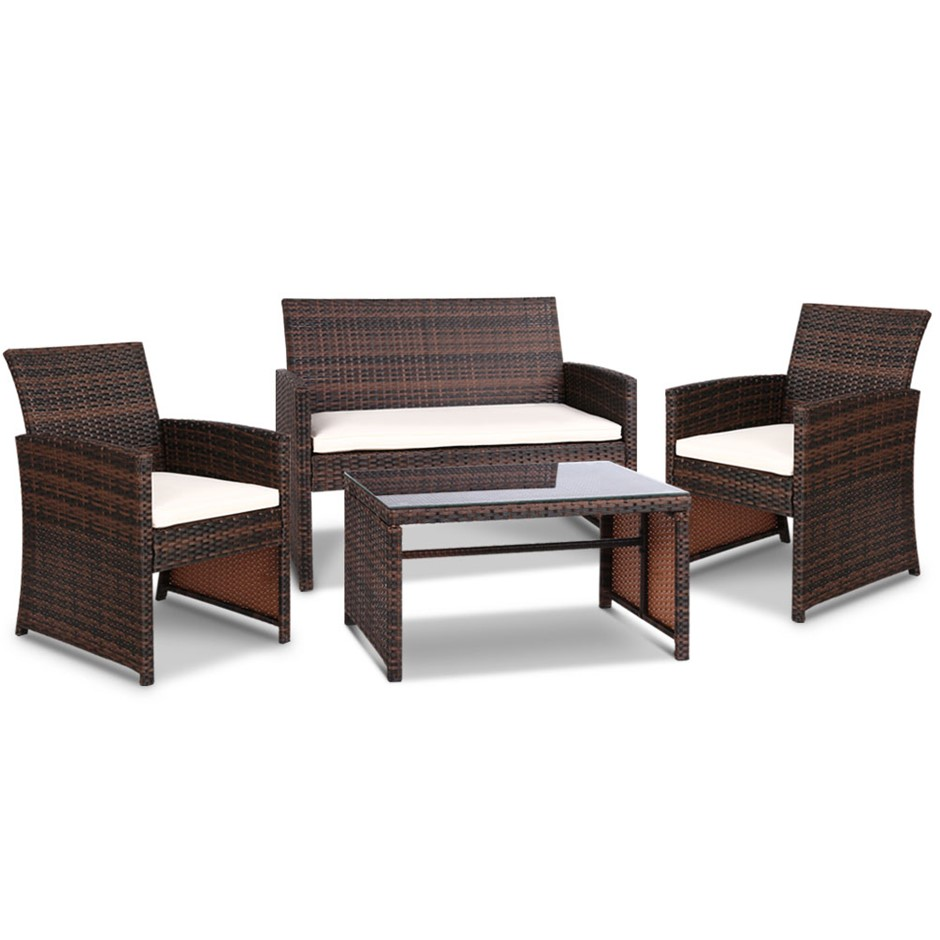 Gardeon Outdoor 4 Piece Rattan Set - Brown