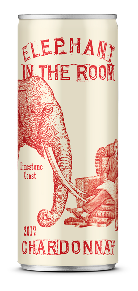 Elephant in the Room Chardonnay 2017 (24 x 250mL Cans), Padthaway, SA.