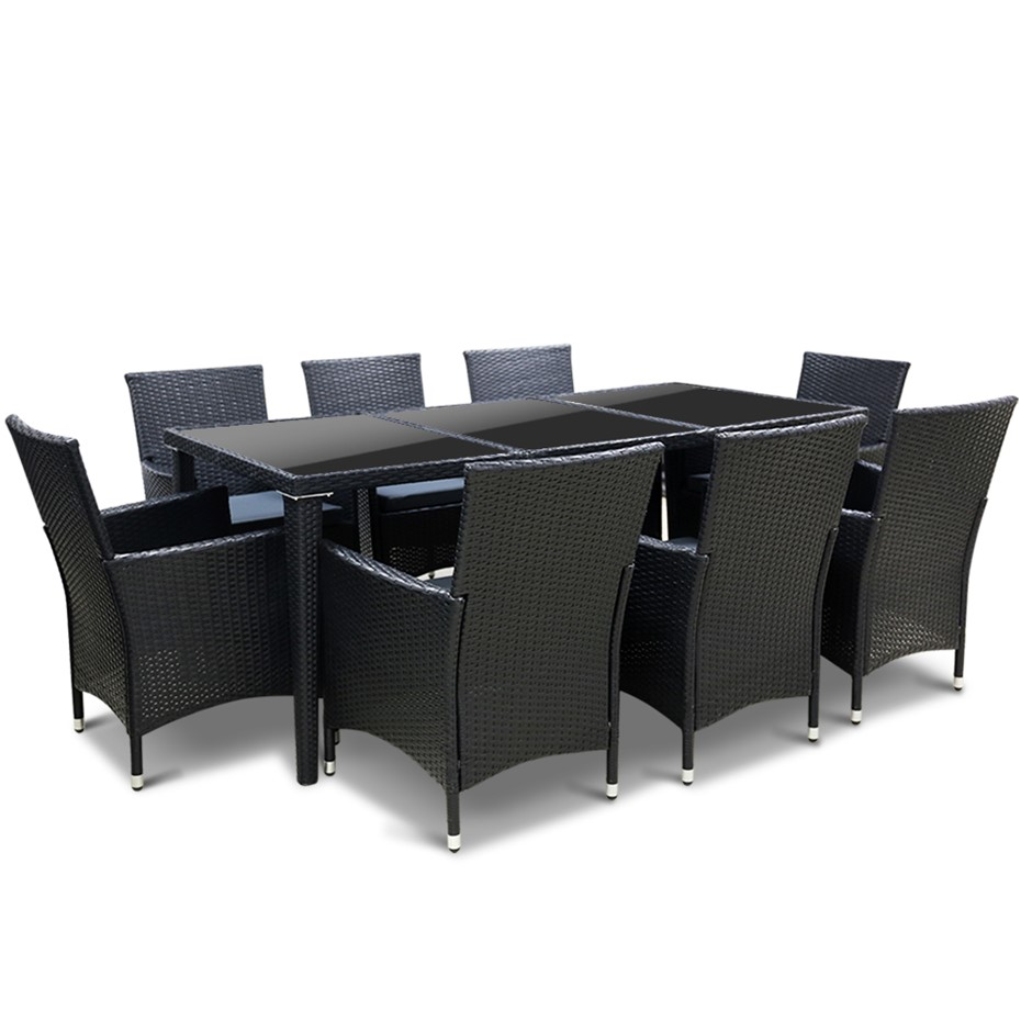 Gardeon 9 Piece Outdoor Dining Set - Black
