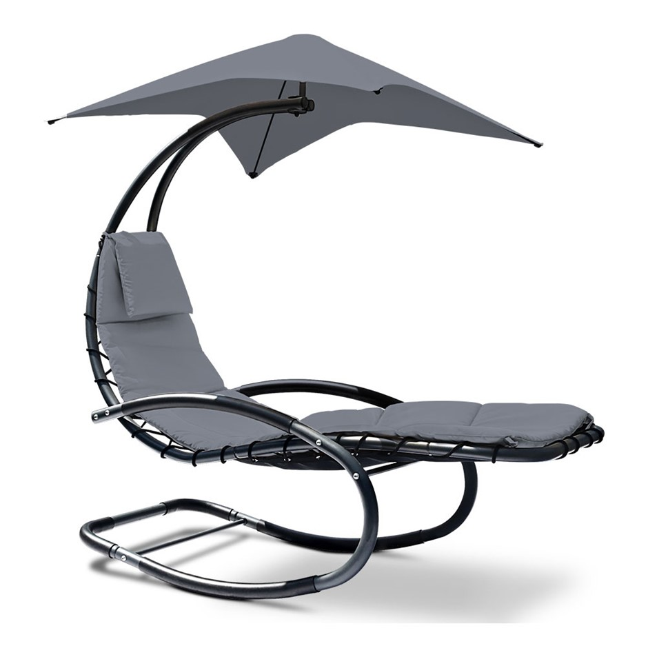 Gardeon Outdoor Canopy Lounger - Grey