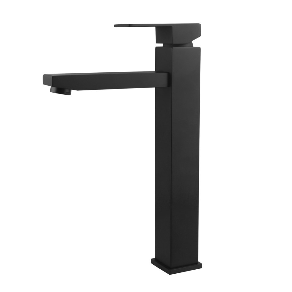 Square Black Counter Top/Above Basin Mixer Tap Tall Faucet Watermark WELS