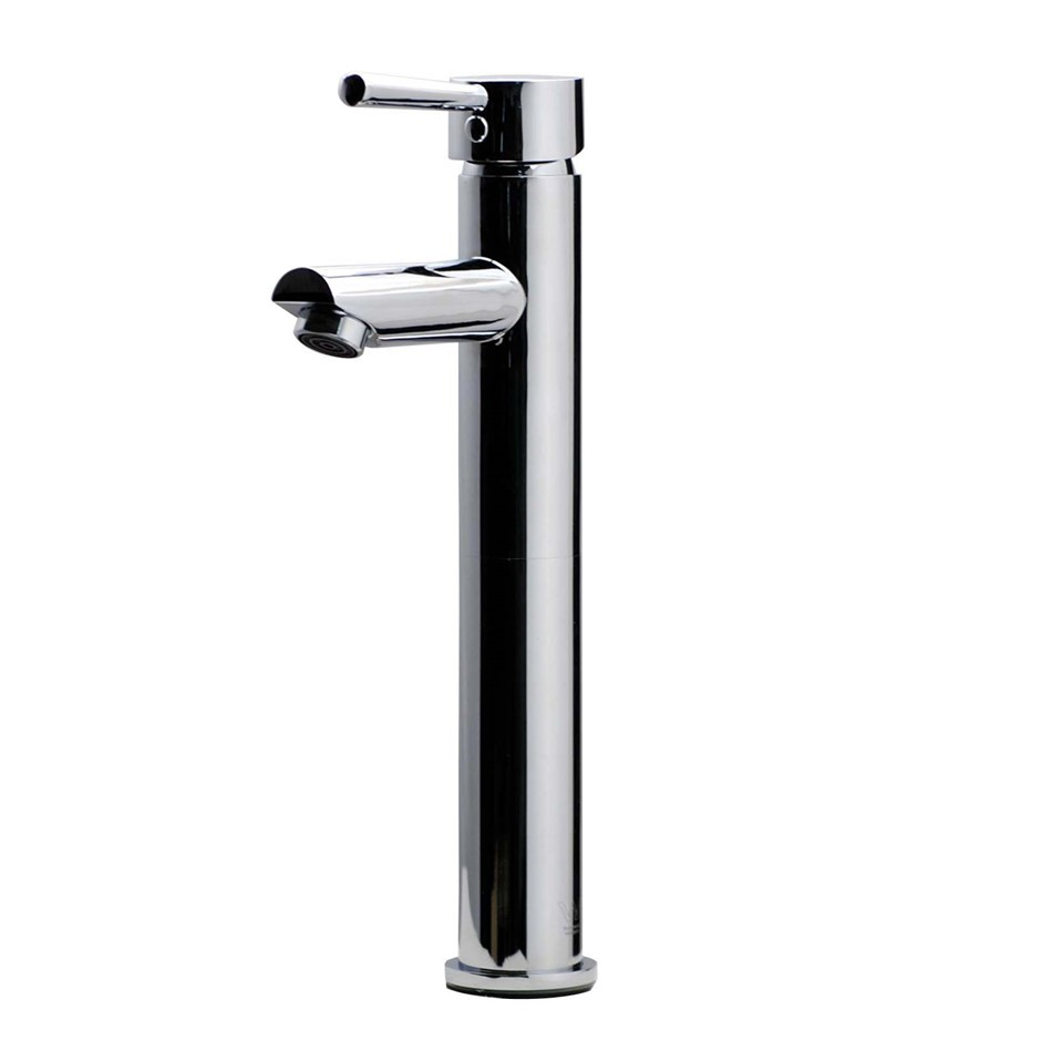 Round Chrome Counter Top/Above Basin Mixer Tap Tall Faucet