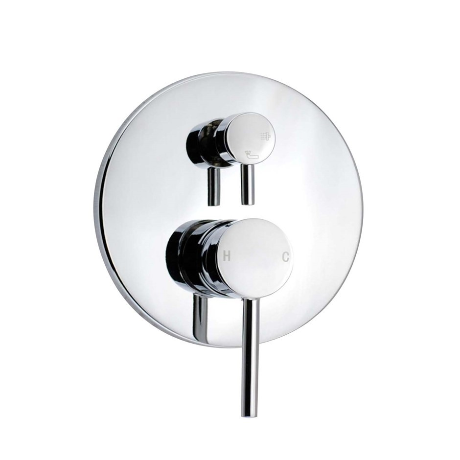 Round Chrome Shower/Bath Mixer Tap With Diverter(Brass), Watermark
