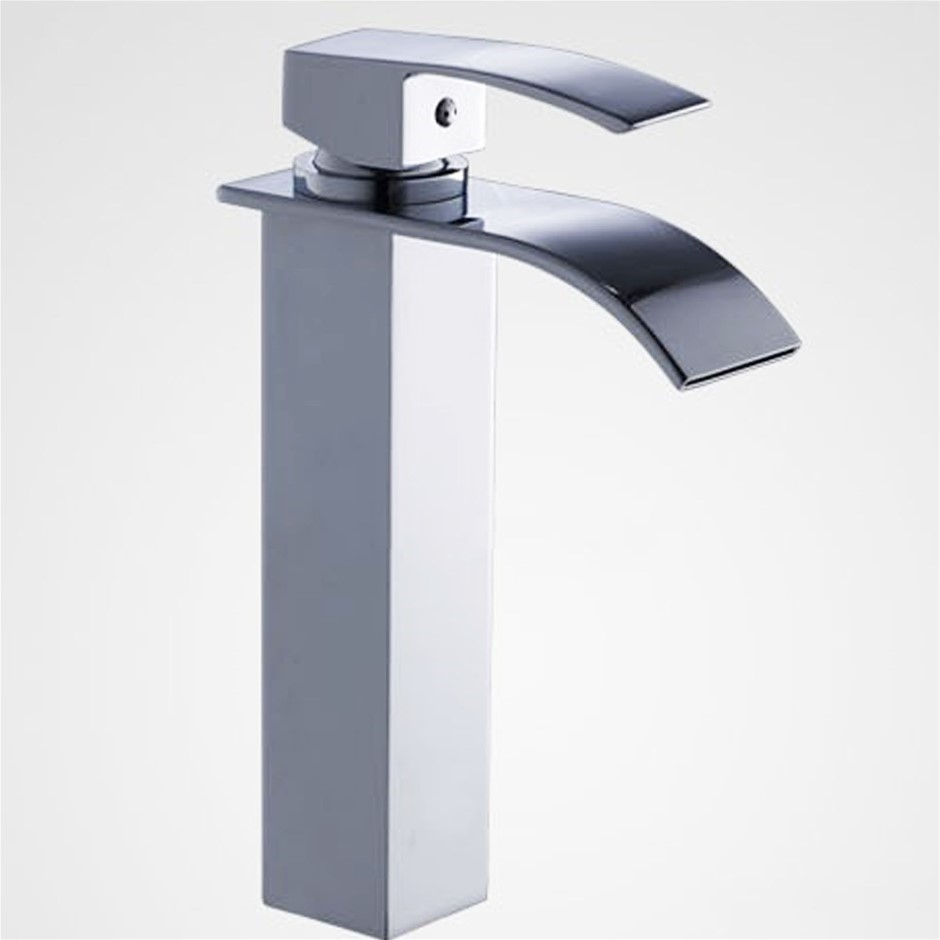 Square Waterfall Chrome Counter Top/Above Tall Basin Mixer Tap