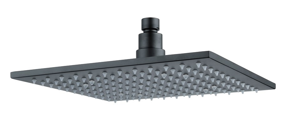 "10"" Square Black LED Rainfall Shower Head(Brass)"
