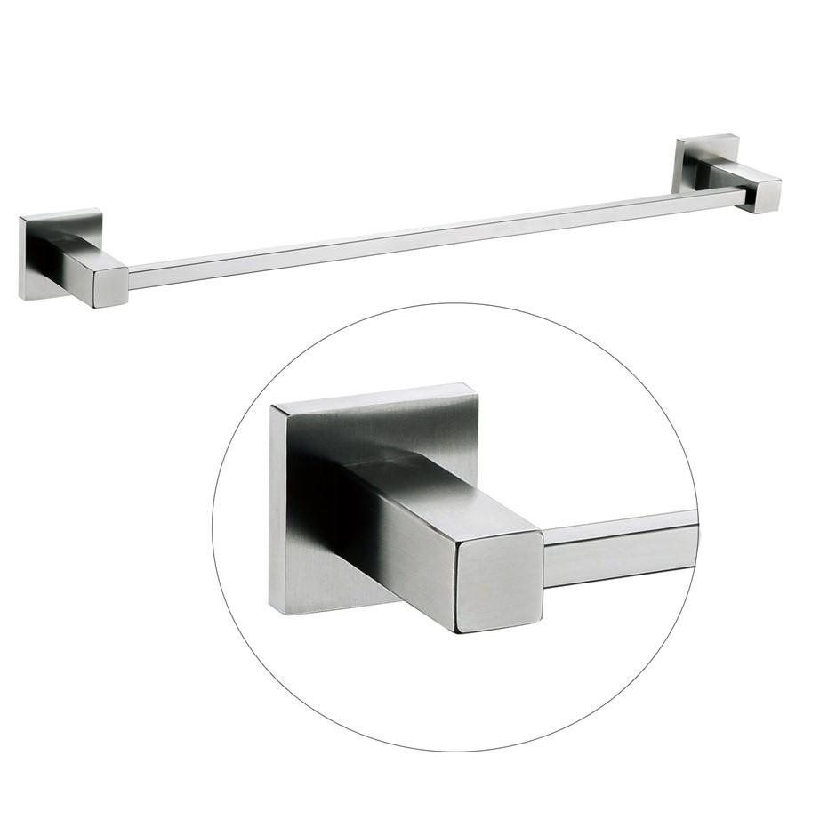 Square Chrome 304 Stainless Steel Single Towel Rail Rack Bar 600mm