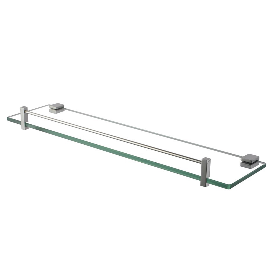 Bathroom Chrome Glass Shelf Cup Holder Shower Storage 500mm