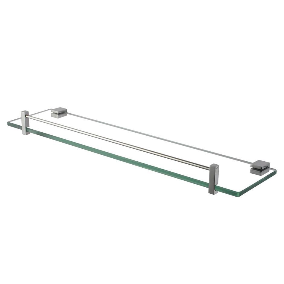 Bathroom Chrome Glass Shelf Cup Holder Shower Storage 500mm