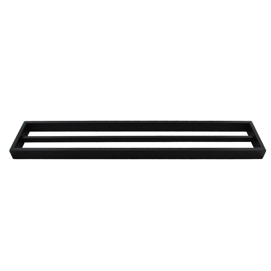 Square Matt Black 304 Stainless Steel Double Towel Rail Rack Bar 600mm