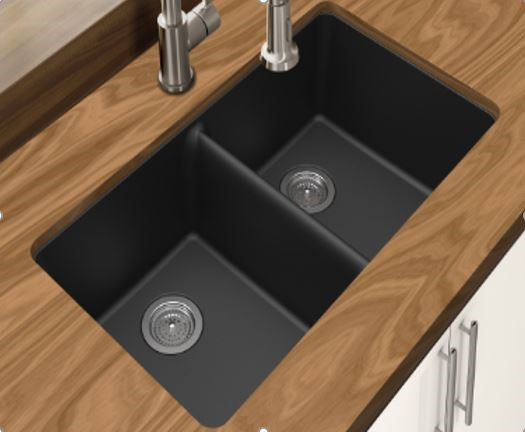 Double Bowl,Black Granite Quartz Stone Kitchen Sink (Round Edges)
