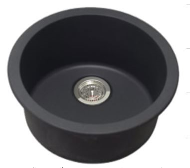 Single Bowl, Black Round Granite Quartz Stone Kitchen Sink
