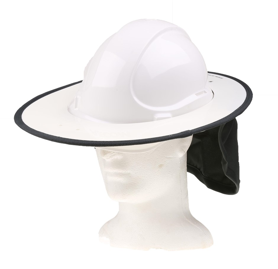 12 x SNAP BRIM Rigid Hard Hat Sunshades with Cotton Drill Neck Flap, White/