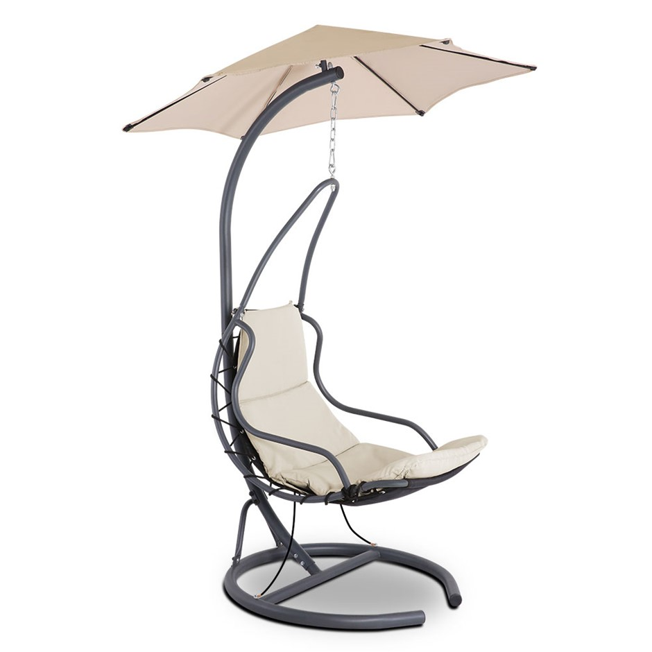 Gardeon Hanging Chair with Umbrella Beige