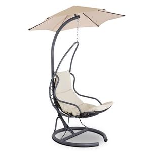 Gardeon Hanging Chair with Umbrella Beig
