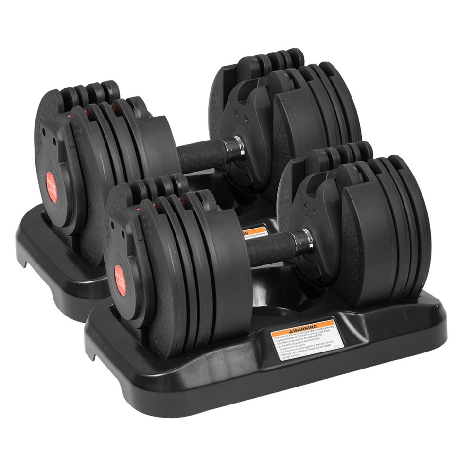 2x 20kg Powertrain Adjustable Home Gym Dumbbells - BF4