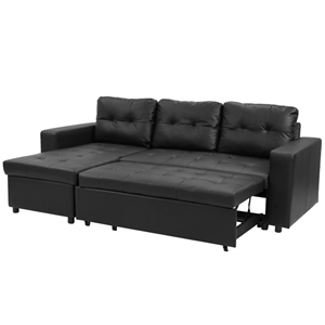 3-Seater Corner Sofa Bed Storage Chaise Couch Faux Leather - Black