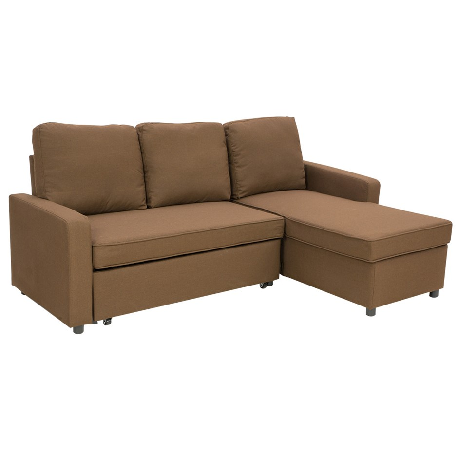 3-Seater Corner Sofa Bed With Storage Lounge Chaise Couch - Brown