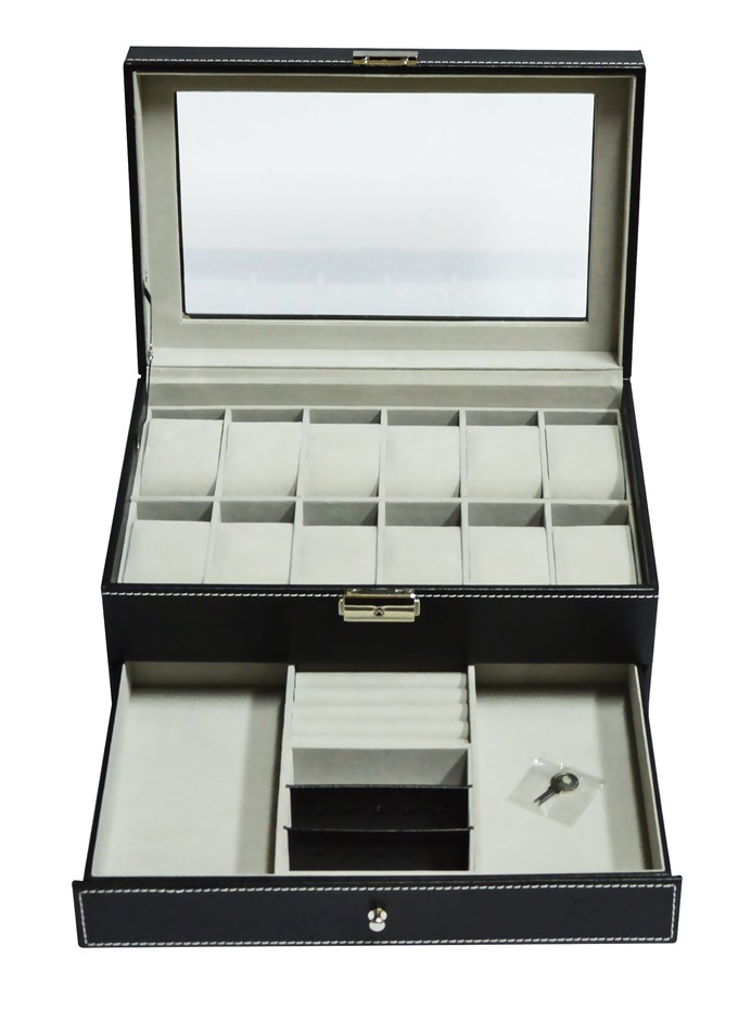 12 Grids Watch Display Case Leather jewellery Storage Box Lock Key